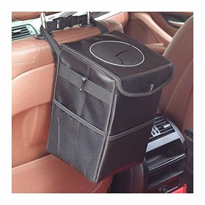 Thumby Vehicle Garbage Dust Case? Rubbish Holder Bin?Car Trash Bags, Trash Cans, Portable Car Trash Bags, (with Lid and Storage Bag,) Lined with Leak-Proof Car Storage Bags,LeatherXL