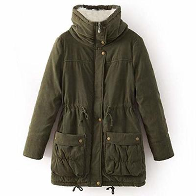 XYJD Winter Jacket Women Hooded Coat Cotton Jacket Adjustable Waist Slim Parkas Plush Lining Army Green