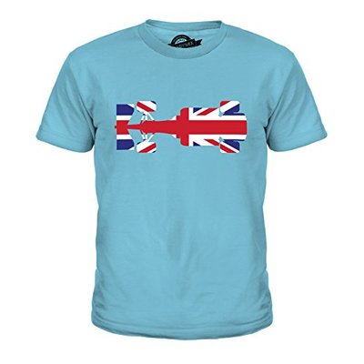 Candymix Great British F1 Unisex Kids T Shirt Boys/Girls/Toddler/Children T-Shirt, Age 10, Colour Sky Blue